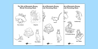 Beatrix Potter - The Tale of Benjamin Bunny Words Colouring Sheet - beatrix potter, benjamin bunny