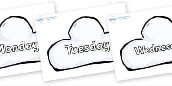 Days of the Week on Weather Symbols (Cloud) - Days of the Week, Weeks poster, week, display, poster, frieze, Days, Day, Monday, Tuesday, Wednesday, Thursday, Friday, Saturday, Sunday