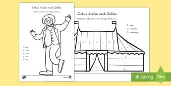 Zirkus Malen nach Zahlen - Zirkus Malen nach Zaheln, Zirkus, Zirkustiere, Clown, Malen nach Zahlen, Zahlenerkennung, Anmalbilde