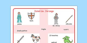 Plansza ze słownictwem Dzień Świętego Jerzego - po polsku