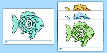 Numbers on Fish 0-31 - numbers on fish, 0-30, numbers, fish, under the sea