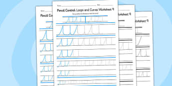 Pencil Control Loops And Curves Worksheet 9 - pencil control