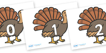 Numbers 0-50 on Turkeys - 0-50, foundation stage numeracy, Number recognition, Number flashcards, counting, number frieze, Display numbers, number posters