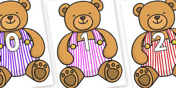 Numbers 0-100 on Dugaree Teddy - 0-100, foundation stage numeracy, Number recognition, Number flashcards, counting, number frieze, Display numbers, number posters