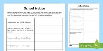 School Notice Writing Activity Sheet - school notice, noticeboard, writing, creative writing, information, worksheet
