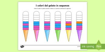 La sequenza colorata del gelato Attività - la, sequenza, colorata, del, gelato, colora, italiano, italian, materiale, scolastico