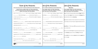 Scott of the Antarctic Cloze Activity with Word Bank Differntiated - history, significant, individuals, antarctica, south, pole, primary, nature, geography, maps, visual, aid, cloze, blanks, fill in