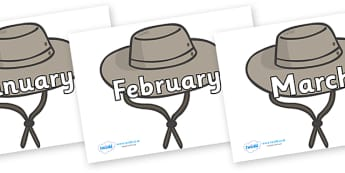 Months of the Year on Cowboy Hats - Months of the Year, Months poster, Months display, display, poster, frieze, Months, month, January, February, March, April, May, June, July, August, September