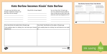 Kate Barlow to Kissin' Kate Activity Sheet to Support Teaching on Holes  - New Zealand Chapter Chat, Chapter Chat NZ, Chapter Chat, Kate Barlow, Holes, Character Description,