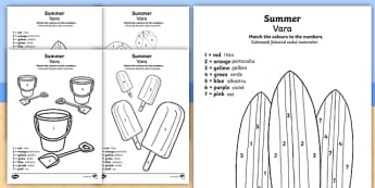 Summer-Themed Colour by Number English/Romanian - numeracy, art, seasons, counting aid, numbers,EAL