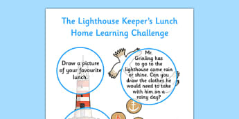 Home Learning Challenge Sheet Nursery FS1 to Support Teaching on The Lighthouse Keeper's Lunch - lighthouse