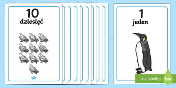 Zimowe plakaty z liczbami od 1 do 10 - liczenie, liczby, 10, 1, od, do, matematyka, przedszkole, klasa zero, zerowa, 0, klasa pierwsza, kla