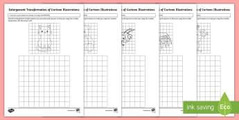 Enlargement Transformation of Cartoon Illustrations Activity Sheet - Australian Curriculum Geometry and Measurement, ACMMG115, enlarge, enlargement, enlargement transfor