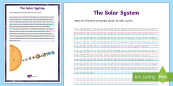 The Solar System Handwriting Activity Sheet - space, sun, earth, worksheet, legible, topic, practice, science