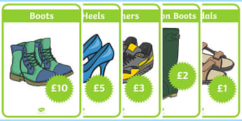 Shoe Shop Role Play Display Posters - Shoe shop, shoes, role play, shop, trainers, display, poster, shoe box, labels, measuring chart, word cards