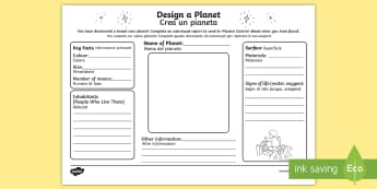 Design Your Own Planet Activity Sheet English/Italian - Back to Earth with a Bump, space, planets, night and day, dark, sun, Mars, moon, stories, picture bo