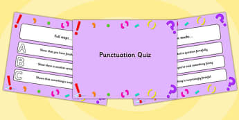 Punctuation PowerPoint Quiz - punctuation, powerpoint, quiz