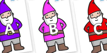 A-Z Alphabet on Gnomes - A-Z, A4, display, Alphabet frieze, Display letters, Letter posters, A-Z letters, Alphabet flashcards