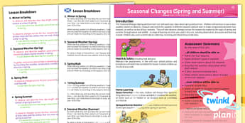 PlanIt - Science Year 1 - Seasonal Changes (Spring and Summer) Planning Overview CfE - CfE, Planit, weather, seasons, summer, spring