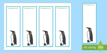 Penguin Editable Bookmarks - Bookmarks, rewards, penguins, Polar regions, arctic, antarctic