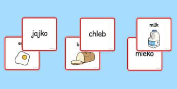 Dopasowanie wyrazów i obrazków Jedzenie po polsku - zabawa