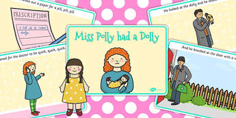 Miss Polly Had a Dolly Sequencing (A4) - Miss Polly Had a Dolly , nursery rhyme, sequencing, rhyme, rhyming, nursery rhyme story, nursery rhymes, doctor, people who help us, Miss Polly had a Dolly resources