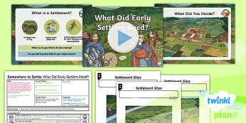 PlanIt - Geography Year 4 - Somewhere to Settle Lesson 1: What Did Early Settlers Need? Lesson Pack - geography, settlement, settlers, history, early, Viking, Roman, Anglo-Saxon