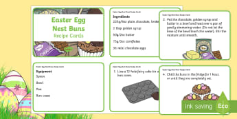 Easter Egg Nests Recipe Cards - KS1 Easter 2017 (16th April), recipe, buns, cakes, nests, chocolate, baking, easter egg,