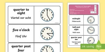 Telling the Time Dominoes English/German - Telling the Time Dominoes - telling the time, dominoes, activity, game, domino, tell, EAL, German, l