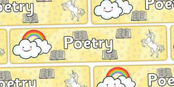 Poetry Display Banner - Display banner, poetry, poem, literacy, writing, independent writing, display, banner, poetry display, poem display