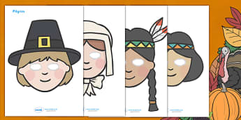 Thanksgiving Role Play Masks - role play,thanksgiving, role play mask, play, pumpkin, United States, November, turkey, stuffing, family, celebration
