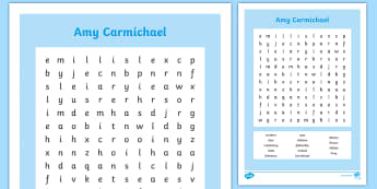 Amy Carmichael Word Search - Northern Ireland, Amy Carmichael, Missionary