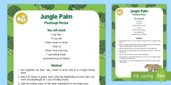 Jungle Palm Playdough Recipe - Jungle and Rainforest, green playdough, palms, broccoli,