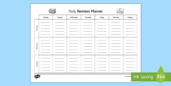 Daily Revision Planner - Secondary - 15 Minute Revision Activities, revision, planner, daily, day to day, exam, ks4