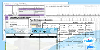 PlanIt - History LKS2 - The Railways Unit Assessment Pack - assessment, record, data, baseline, nation, pack, objectives, criteria, success, national, curriculum, industry, change, revolution, rocket, george, stephenson, stockton, darlington, transpo
