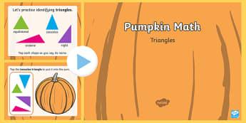 Pumpkin Math Triangles Interactive PowerPoint