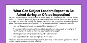 Questions for Subject Leaders Ofsted - questions, ofsted, subject leaders