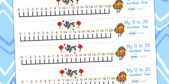 Chinese New Year Number Line 0-20 - chinese new year, numberline