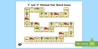f and v Minimal Pair Board Game