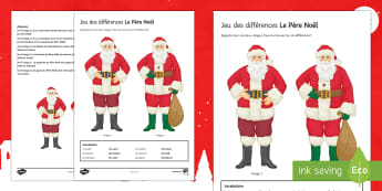 Father Christmas Spot the Differences Activity Sheet-French