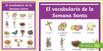 Easter Spanish Vocabulary Display Poster - Spring, KS2, Spanish, MFL,easter, display, poster