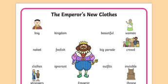 The Emperors New Clothes Word Mat - story books, visual aid