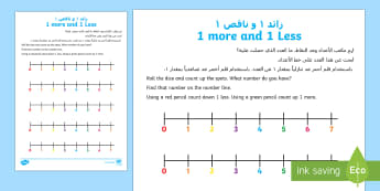 One more and Once Less LA Activity Sheet - UAE, EYFS, Maths General, more ,less, number, one more one less, counting, number line,worksheet.