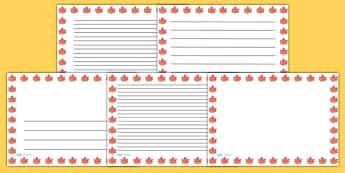 Autumn Leaf Landscape Page Borders- Landscape Page Borders - Page border, border, writing template, writing aid, writing frame, a4 border, template, templates, landscape