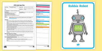EYFS Robbie Robot's Phoneme Challenge Adult Input Plan and Resource Pack - Phase 1 Aspect 7: Oral Blending and Segmenting, letters and sounds, phonics, robot, sound talk, phon
