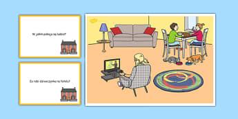 Karty z pytaniami W domu po polsku - mówienie, pomieszczenia
