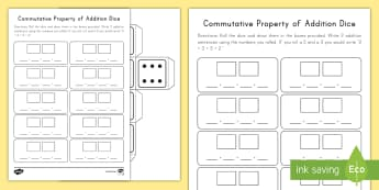Commutative Property of Addition Dice Game - Commutative property, Properties of Addition, Dice, Game, Addition, Operations and Algebraic thinkin