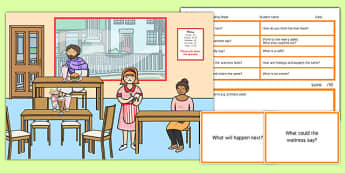 Cafe Scene Blanks Level 3 Questions - receptive language, expressive language, verbal reasoning, language delay, language disorder, comprehension, autism