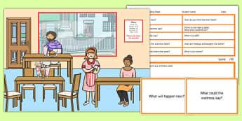 Cafe Scene Blanks Level 3 Questions - receptive language, expressive language, verbal reasoning, language delay, language disorder, comprehension, autism