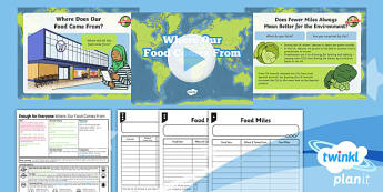 PlanIt - Geography Year 5 - Enough for Everyone Lesson 4: Where Our Food Comes From Lesson Pack - geography, food, miles, import, export